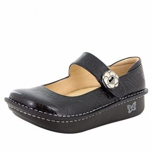 Alegria Paloma Embossed Roses Mary Janes Leather
